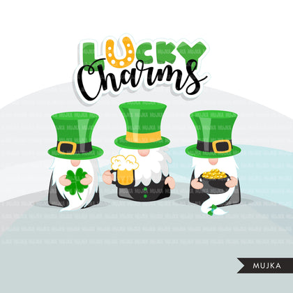 St Patricks Day Gnomes  Clipart, Lucky Irish, pot of gold, clover, beer, Irishman graphics, commercial use PNG clip art