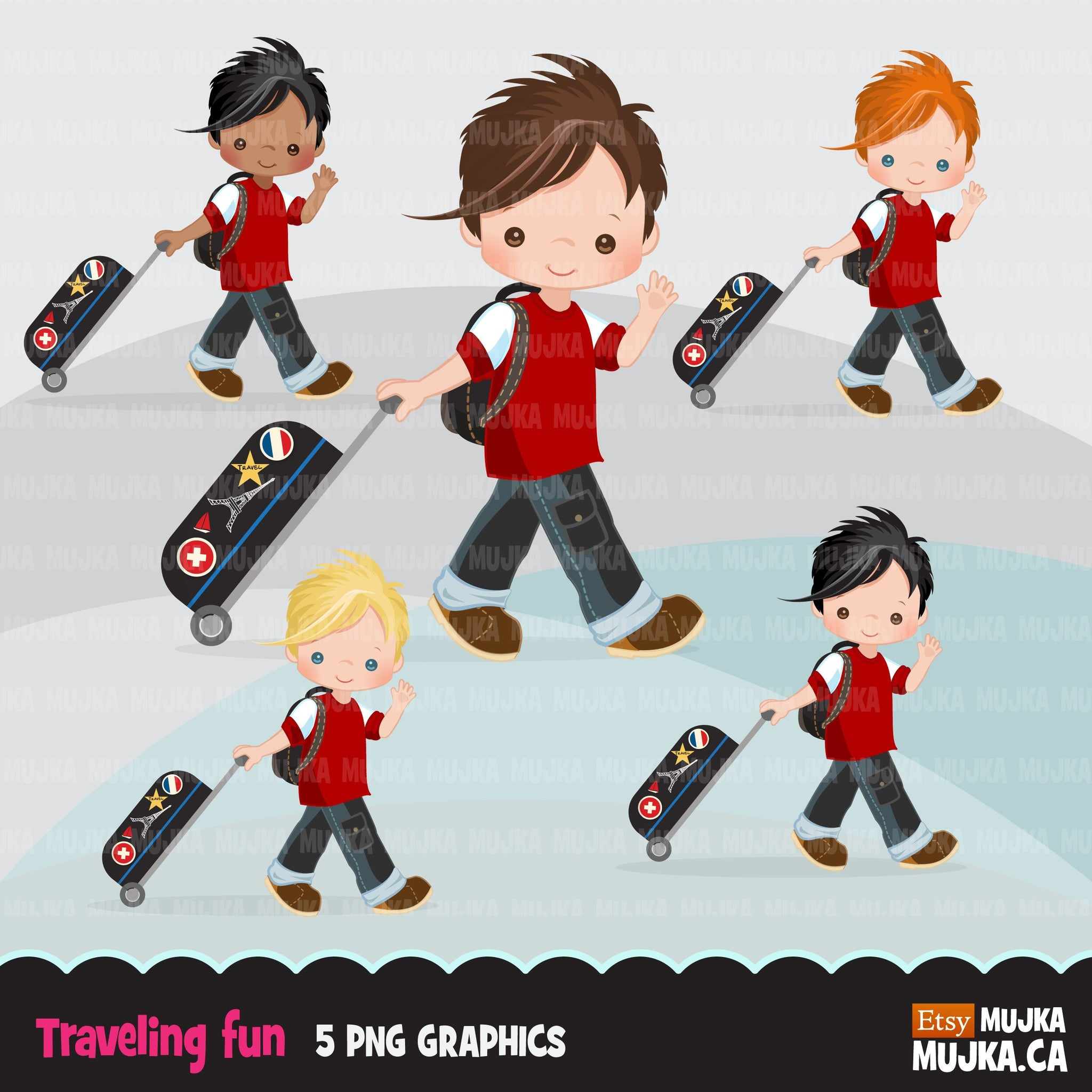 Traveling little boy clipart, Vacation graphics with suitcase and backpack, passport cover graphics, holiday commercial use PNG
