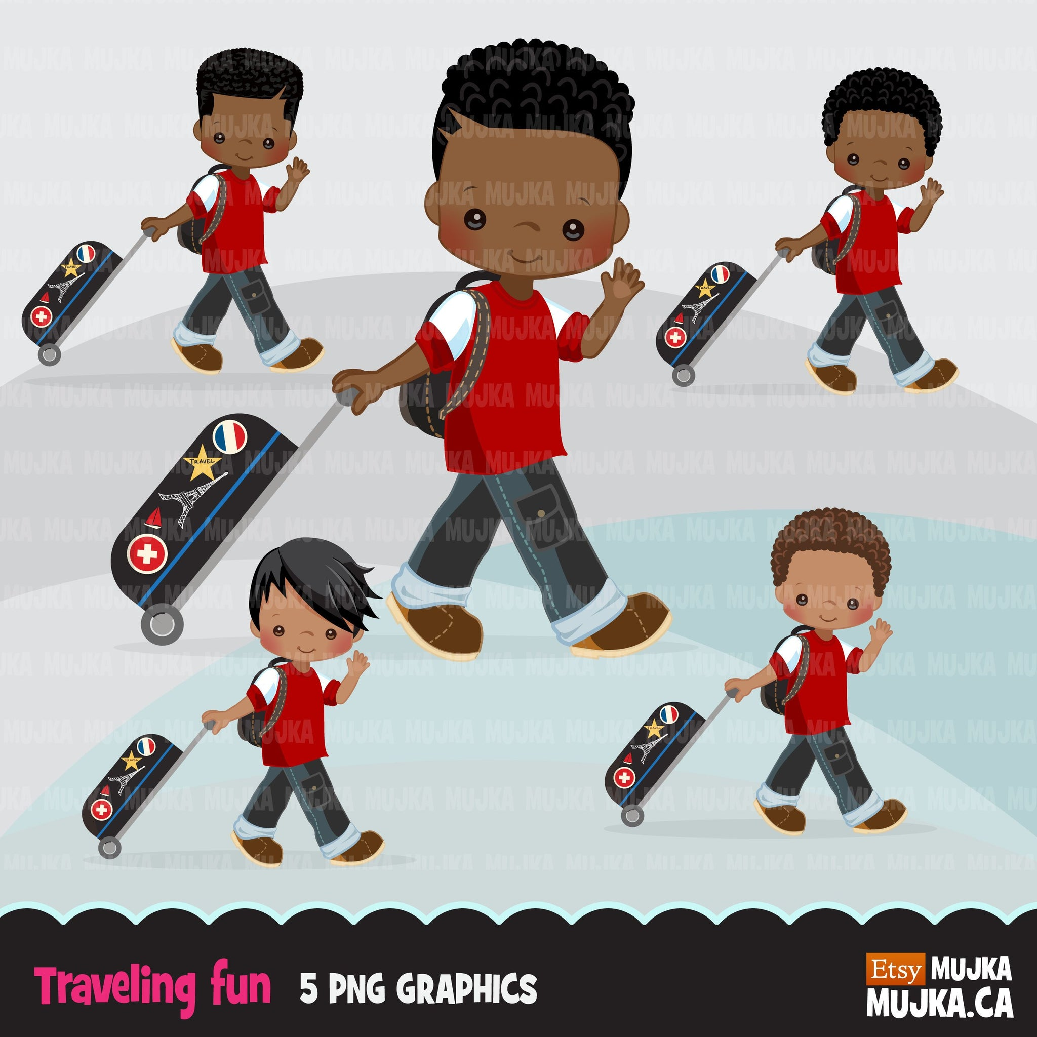 Traveling little black boy clipart, Vacation graphics with suitcase and backpack, passport cover graphics, holiday commercial use PNG