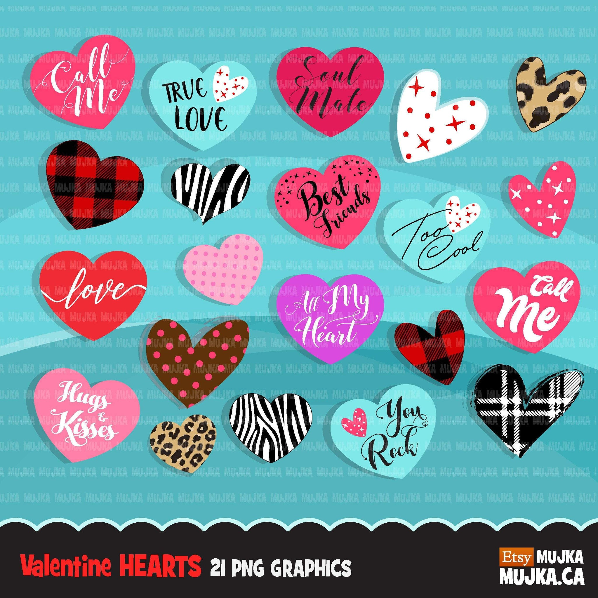 Valentine Hearts Clipart, Love Quotes, zebra, plaid ...