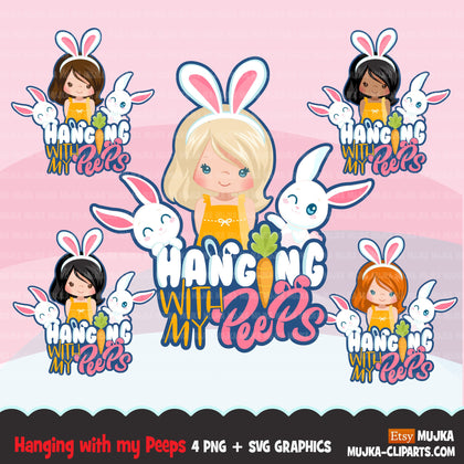 Easter Svg Png digital, Hanging with my peeps htv sublimation image transfer clipart, t-shirt graphics, Little girl