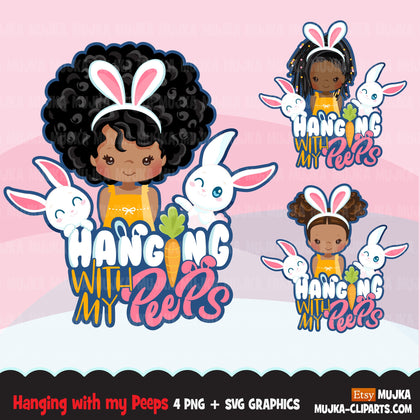 Easter Svg Png digital, Hanging with my peeps htv sublimation image transfer clipart, t-shirt graphics, Little black girl