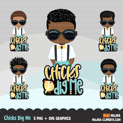 Easter Svg Png digital, Chicks Dig me htv sublimation image transfer clipart, t-shirt graphics, Little black boys with sunglasses