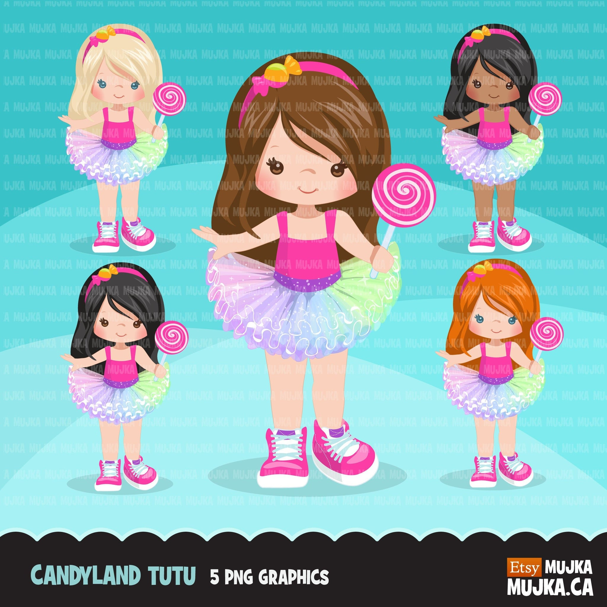 Candy land Tutu Clipart for girls,  lollipop rainbow tutu graphics, fashion, commercial use PNG clip art, birthday cutout