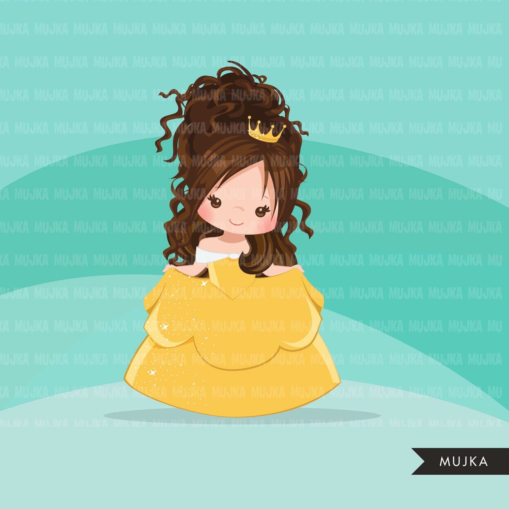 Princess clipart, fairy tale graphics, girls story book, yellow princess dress, commercial use clip art