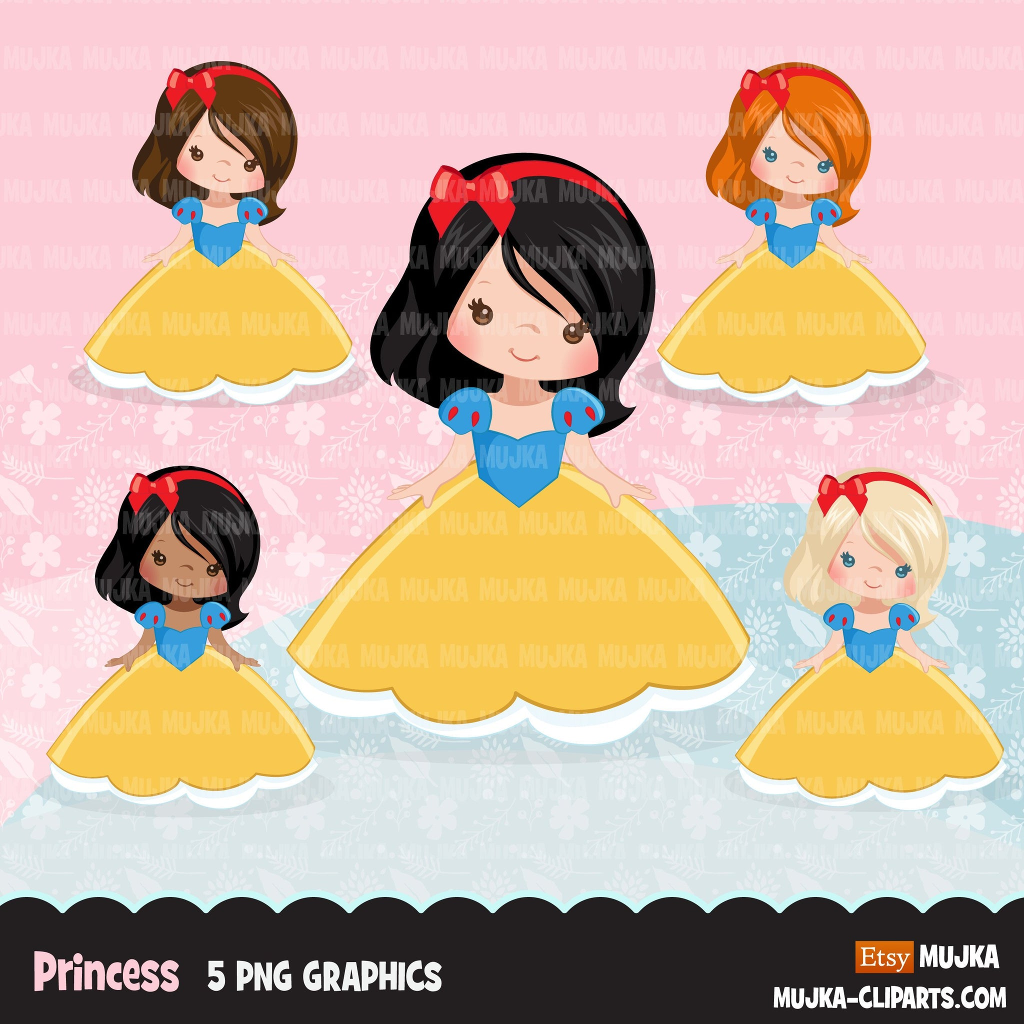 Princess clipart, fairy tale graphics, girls story book, red, blue, yellow princess dress, personal use clip art