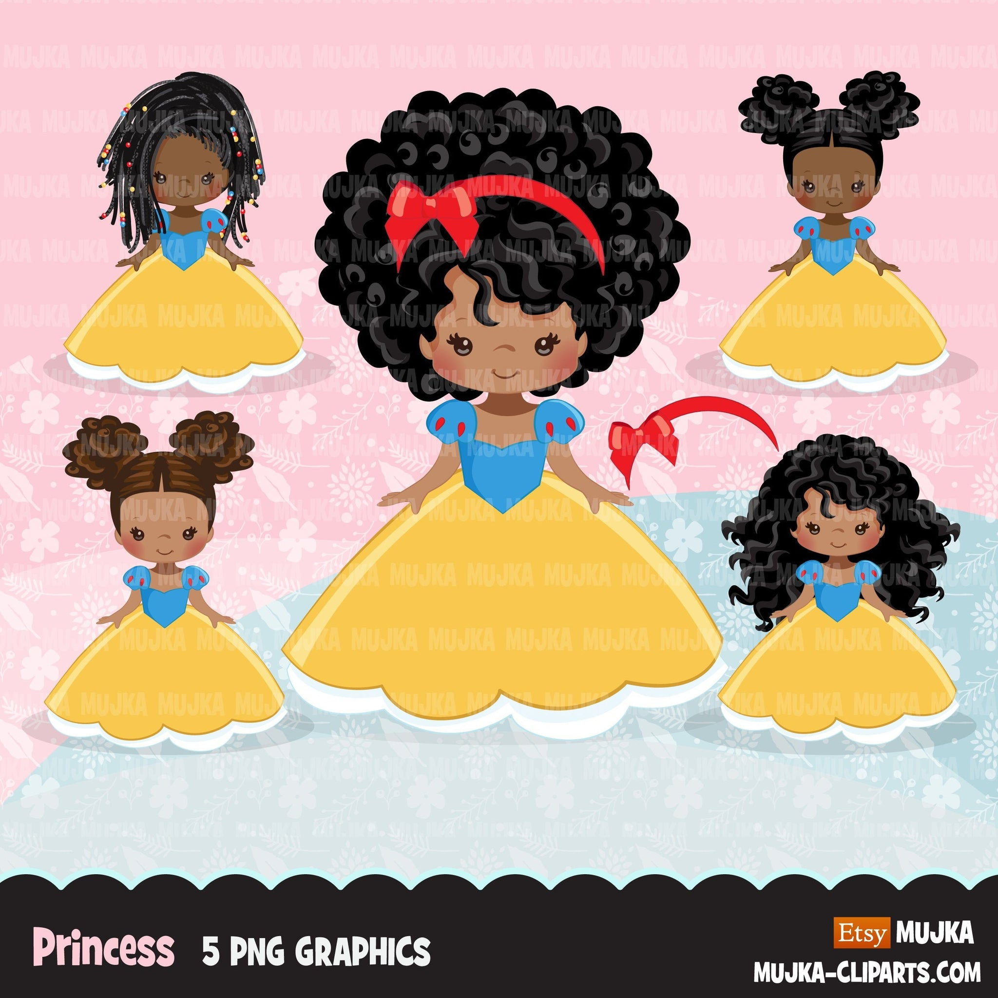 Black Princess clipart, fairy tale graphics, girls story book, red, blue, yellow princess dress, personal use clip art