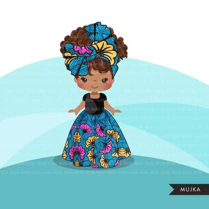 Black girl clipart avatar, Ankara blue yellow floral print hair wrap skirt, african fabric, black history graphics afro girl clip art PNG