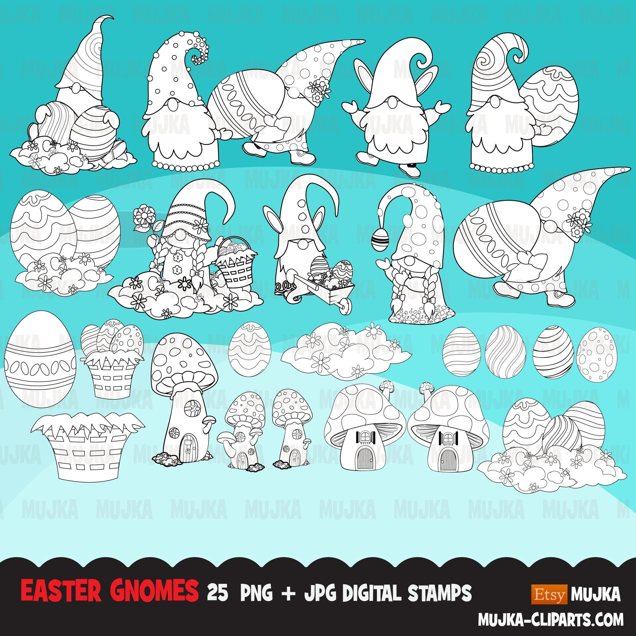 Easter gnomes Digital stamps, Mushroom house, easter eggs, Scandinavian graphics, illustration, coloring book art outline clipart
