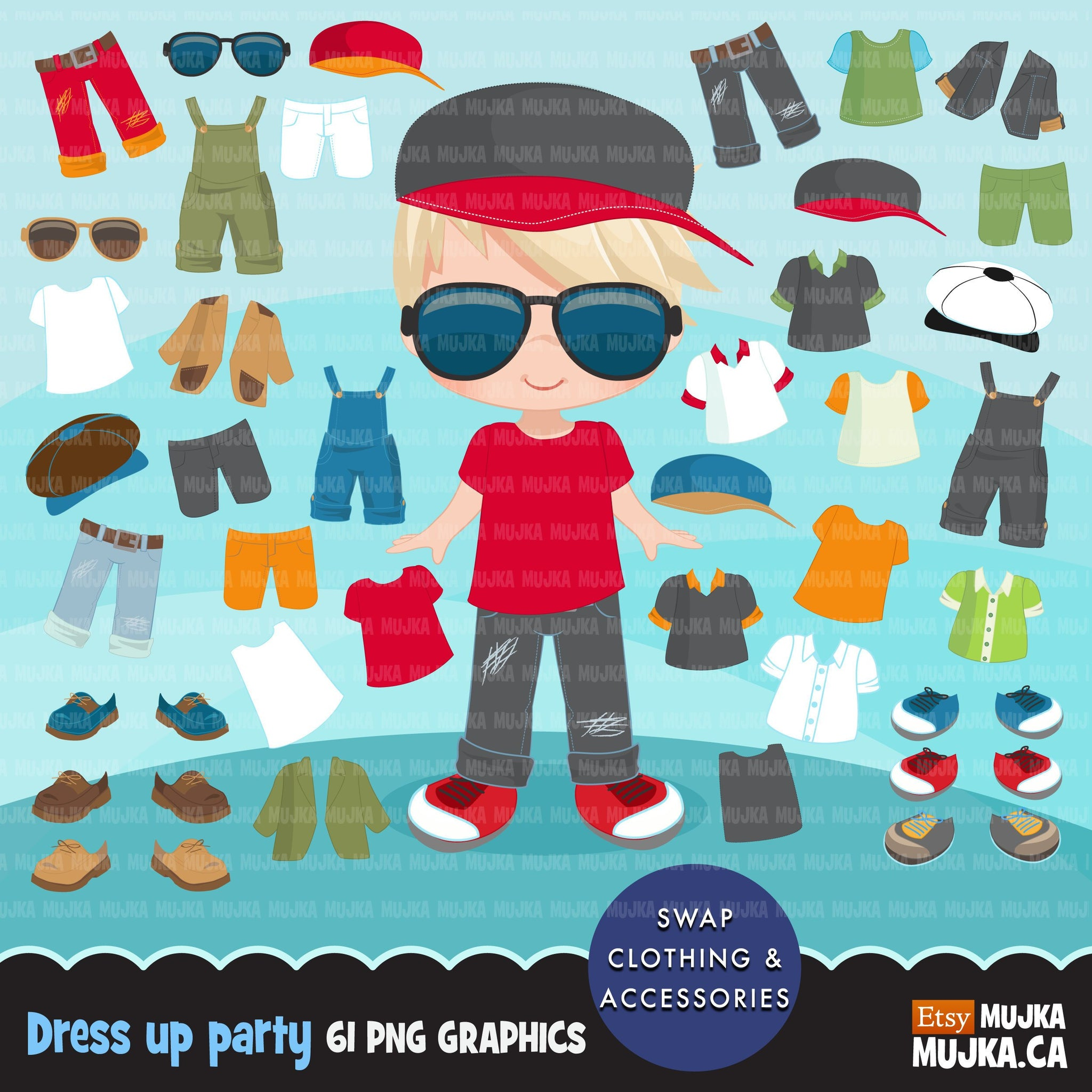 Paper doll clipart, Little Boys Dressing Party Graphics. Cute Characters, summer outfits