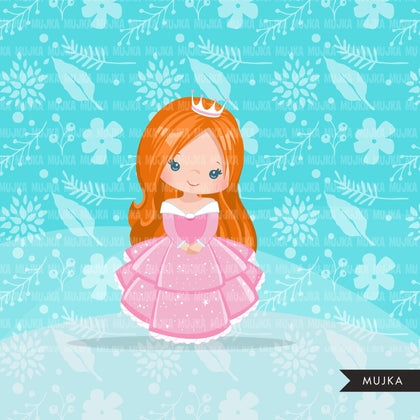Princess clipart, fairy tale graphics, girls story book, pink princess dress, commercial use clip art
