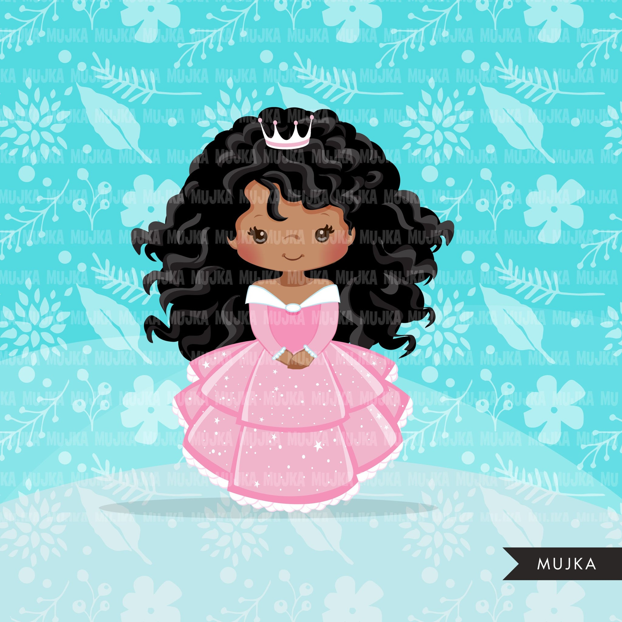 Black Princess clipart, fairy tale graphics, girls story book, pink princess dress, commercial use clip art