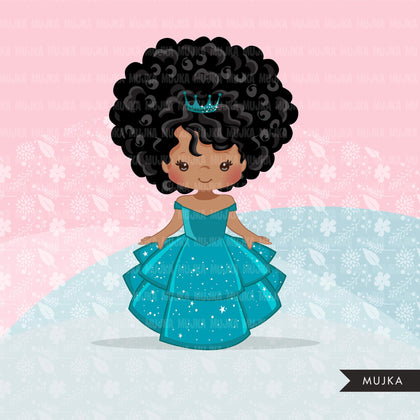 Black Princess clipart, fairy tale graphics, girls story book, teal princess dress, commercial use clip art
