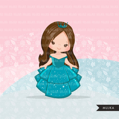 Princess clipart, fairy tale graphics, girls story book, teal princess dress, commercial use clip art