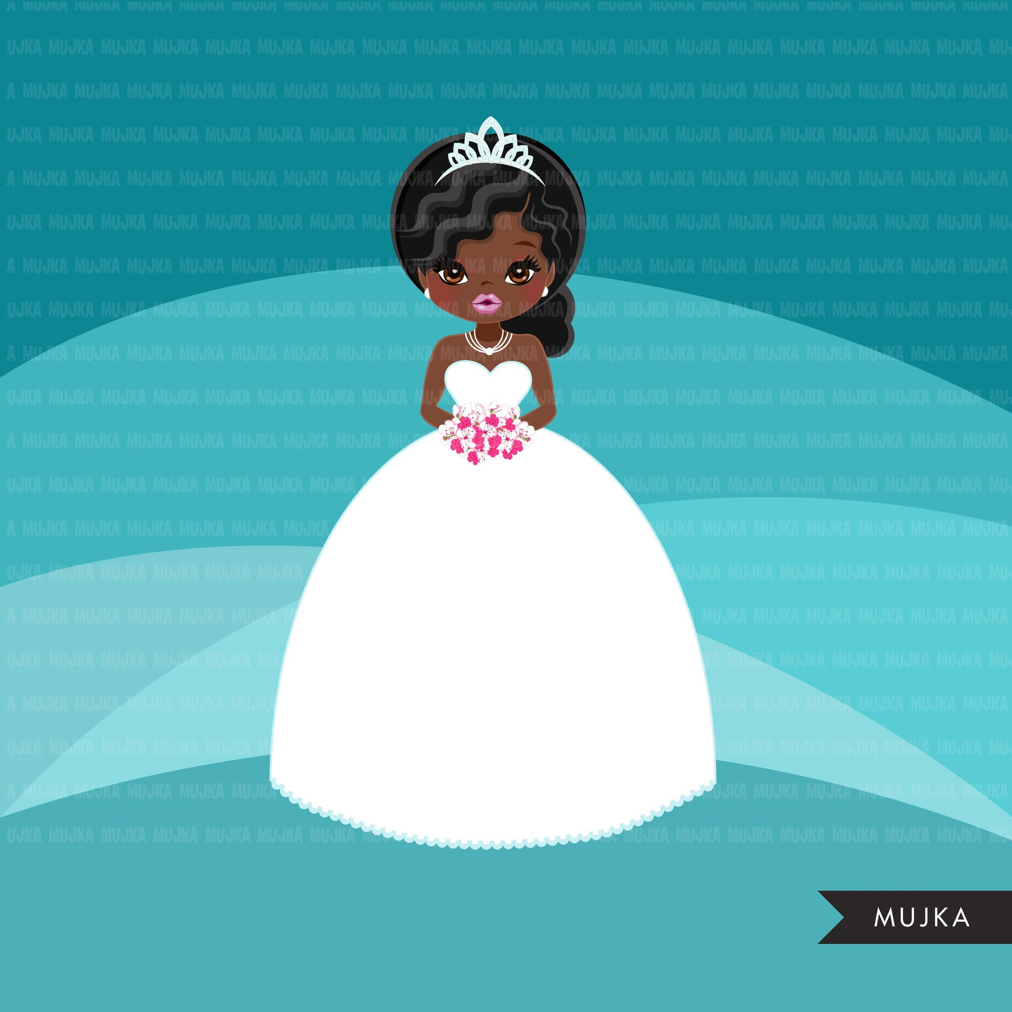 Black Bride avatar clipart, print and cut, wedding graphics, afro girl, african woman, bridal PNG clip art