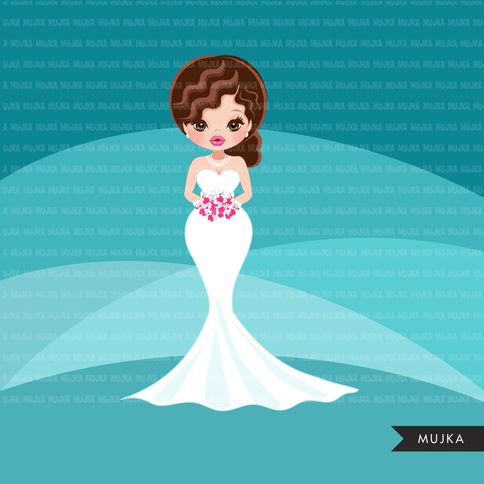 Bride avatar clipart, print and cut, wedding graphics, girl, woman, bridal PNG clip art