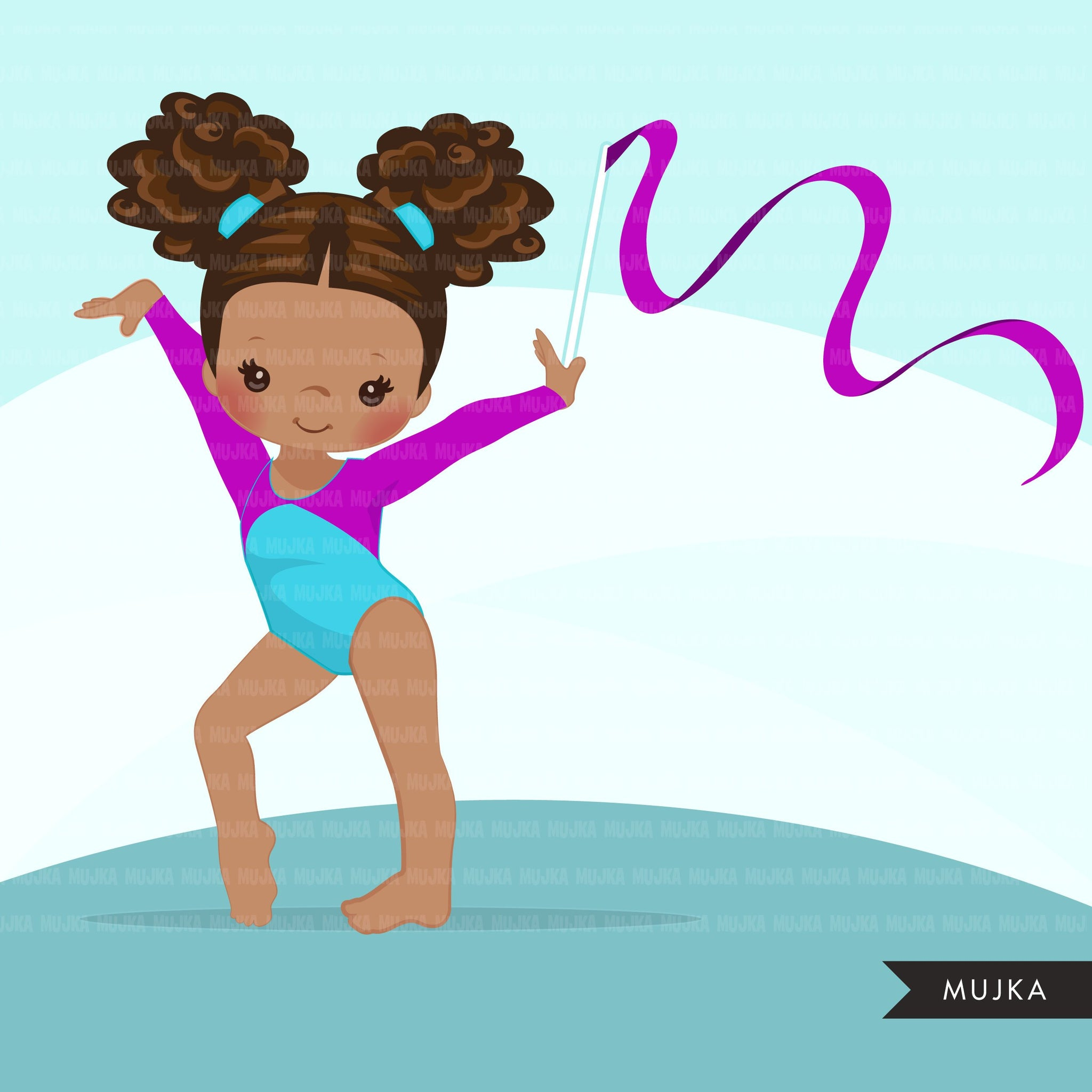 Gymnastics Clipart, Gymnast black girls, sports, school activity, commercial use PNG graphics