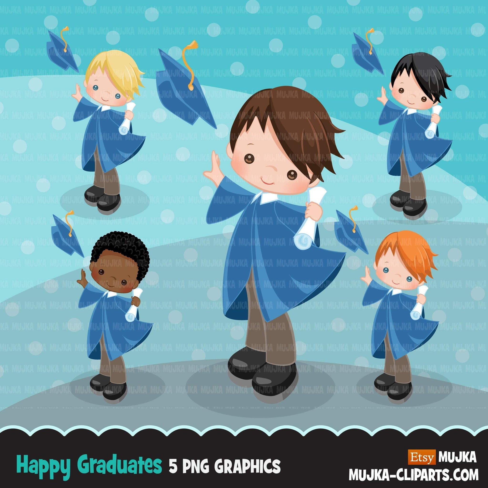 Graduation Clipart, School, graduate boys throwing caps with blue cape, students, grads, commercial use Png clip art