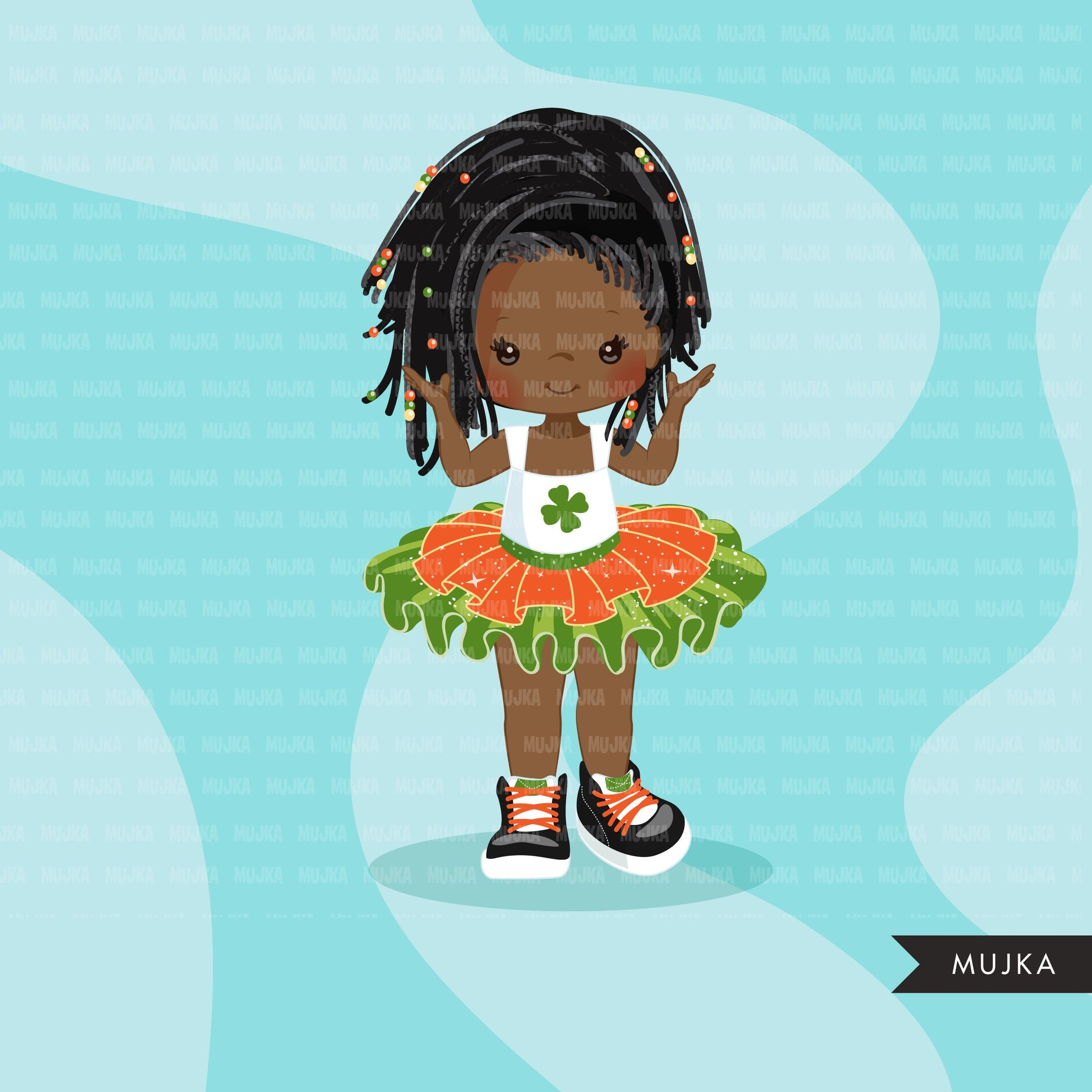 St Patrick's Day Tutu Clipart for Black girls,  Irish tutu graphics, fashion, commercial use PNG clip art, birthday cutout