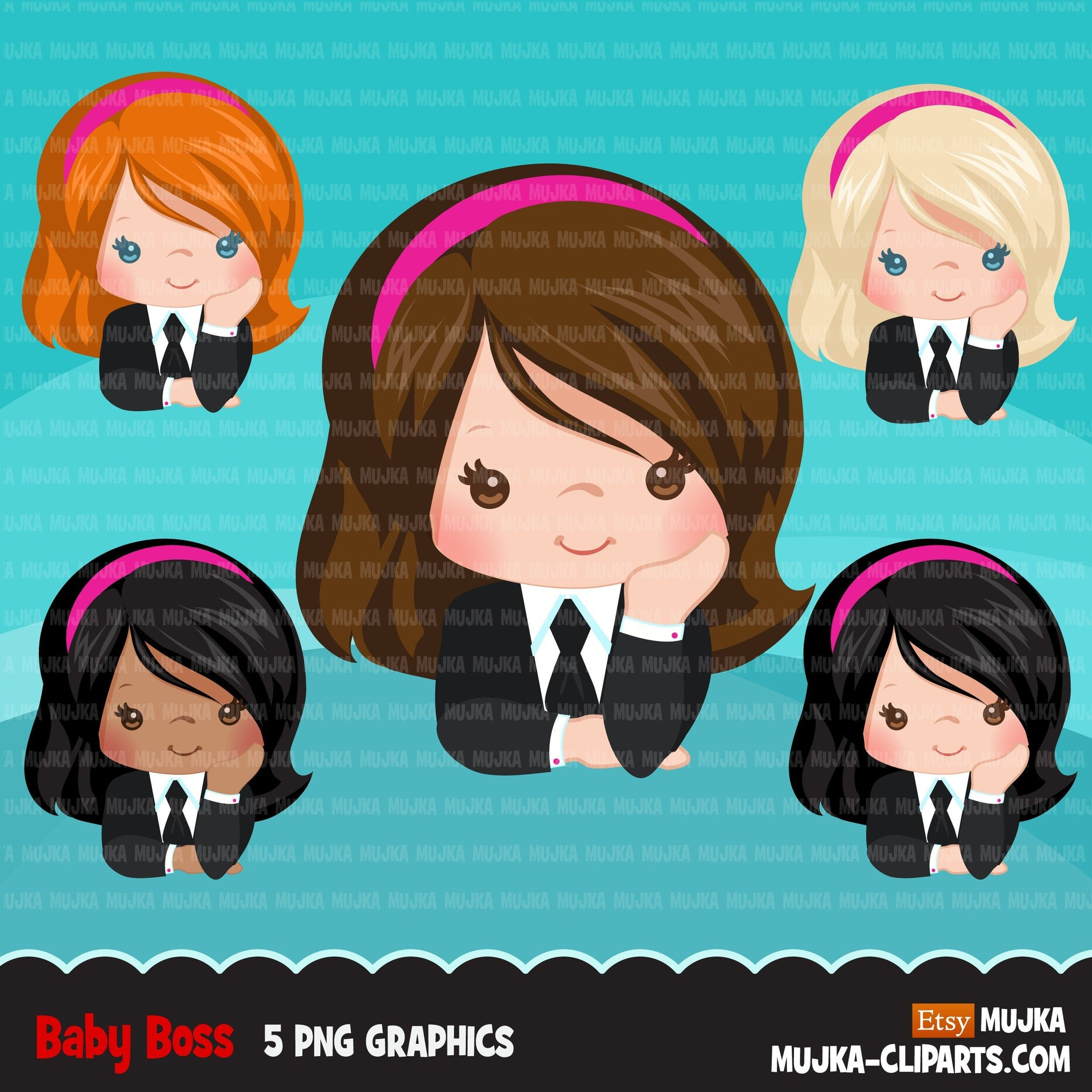 Boss baby clipart, toddler with business suit graphics, short hair girls, commercial use clip art
