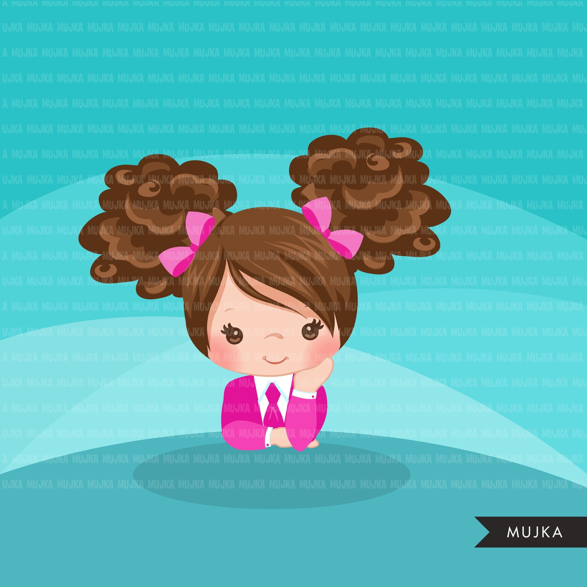 Boss baby clipart, toddler with Pink business suit graphics, curly hair girls, commercial use clip art