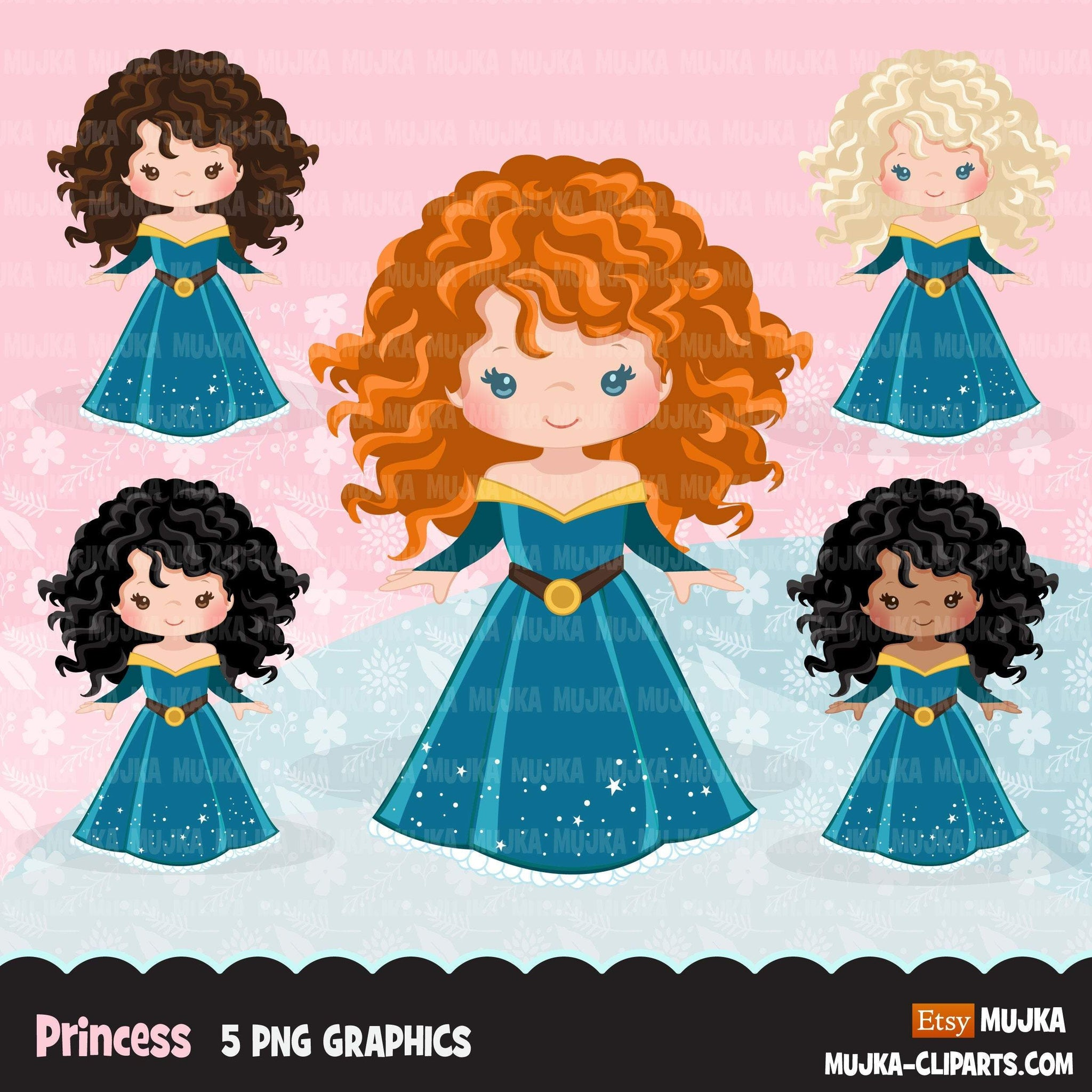 Princess clipart, fairy tale graphics, girls story book, dark blue princess dress, commercial use clip art