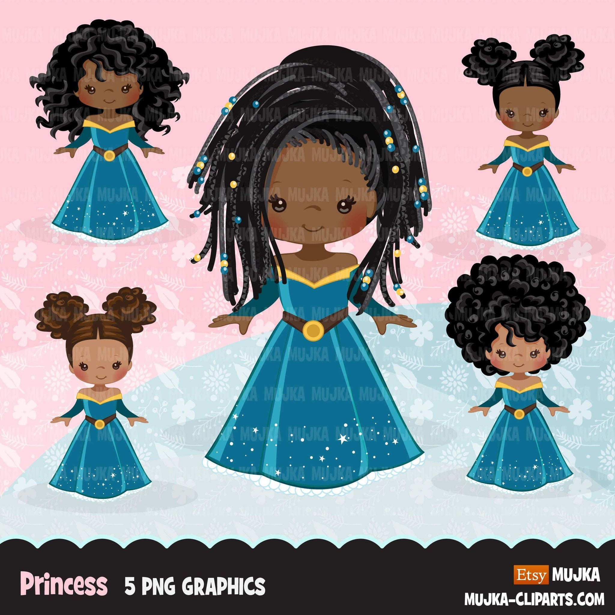 Black Princess clipart, fairy tale graphics, girls story book, dark blue princess dress, commercial use clip art