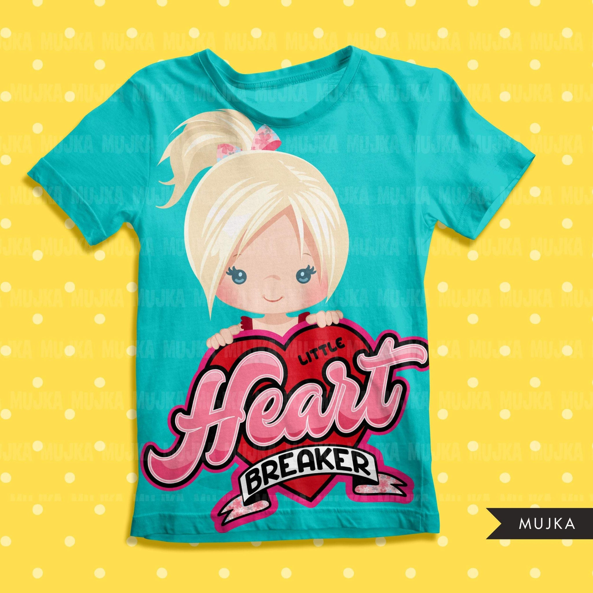 valentines day png digital little heart breaker sublimation image transfer clipart t-shirt graphics little girl