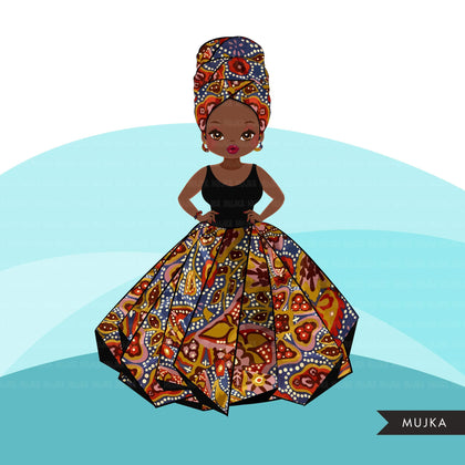 Black woman clipart avatar, Ankara kente African print mud cloth head wrap and skirt, fashion graphics girl clip art PNG