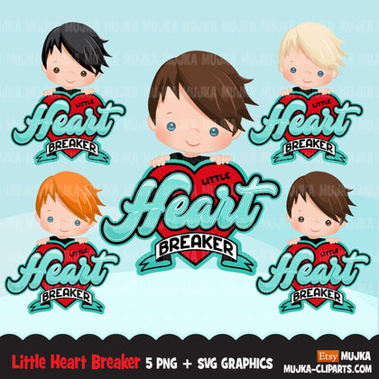 Valentine's Day Svg Png digital, Little heartbreaker htv sublimation image transfer clipart, t-shirt graphics, Little boy