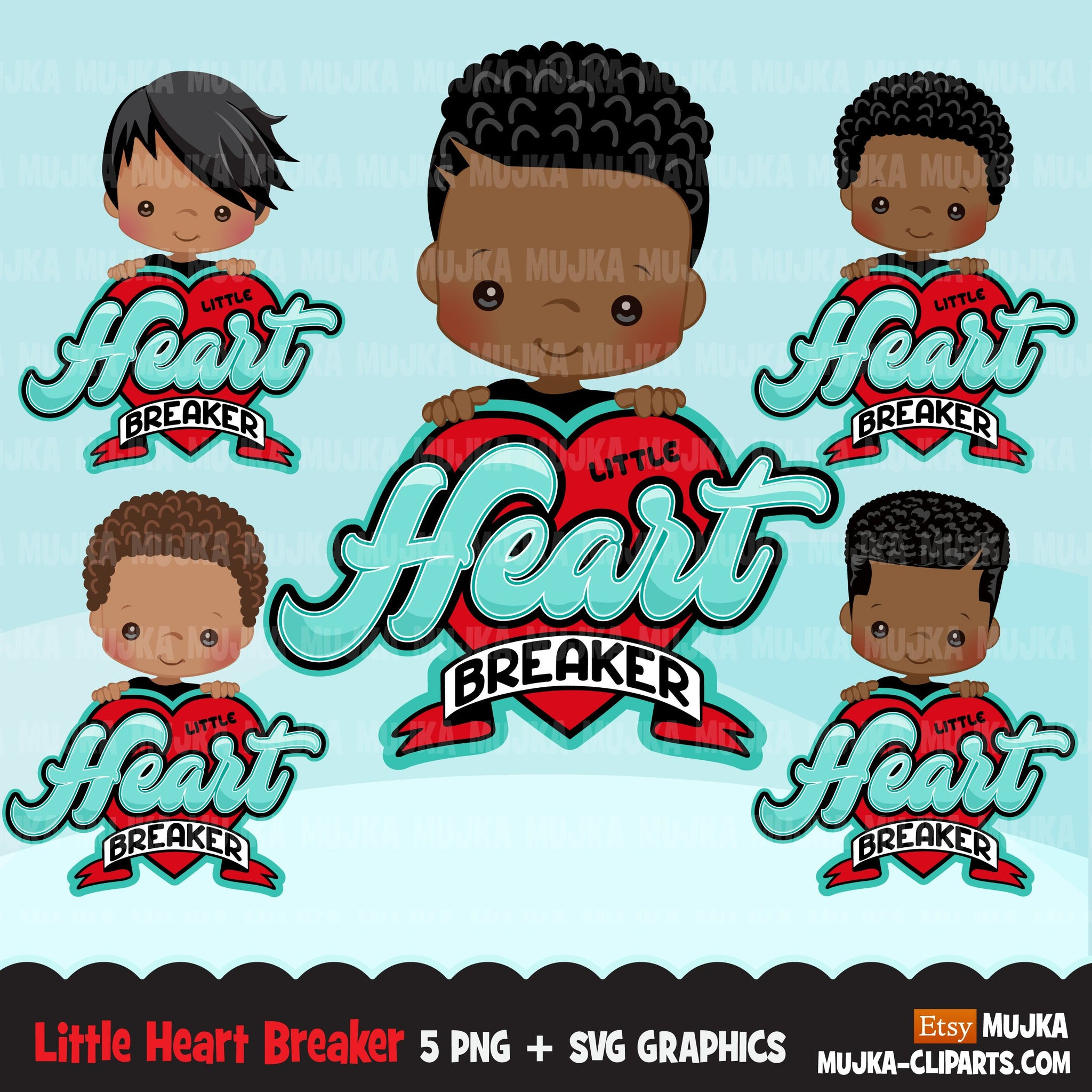 valentines day png digital little heart breaker sublimation image transfer clipart t-shirt graphics little black boy