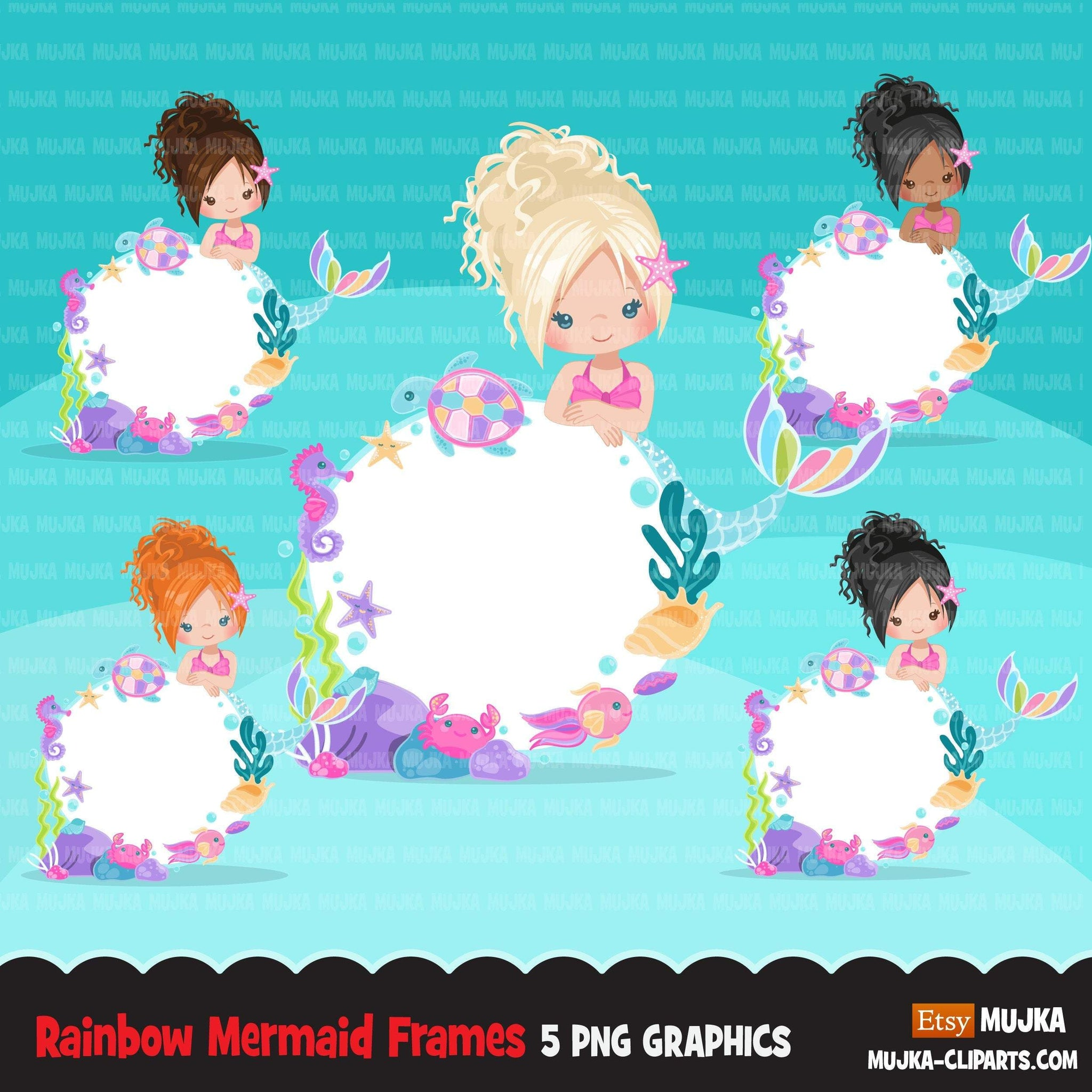 Mermaid clipart, cute underwater frame, pastel rainbow mermaid graphics, mermaid princess, rainbow birthday party, girl clip art, summer