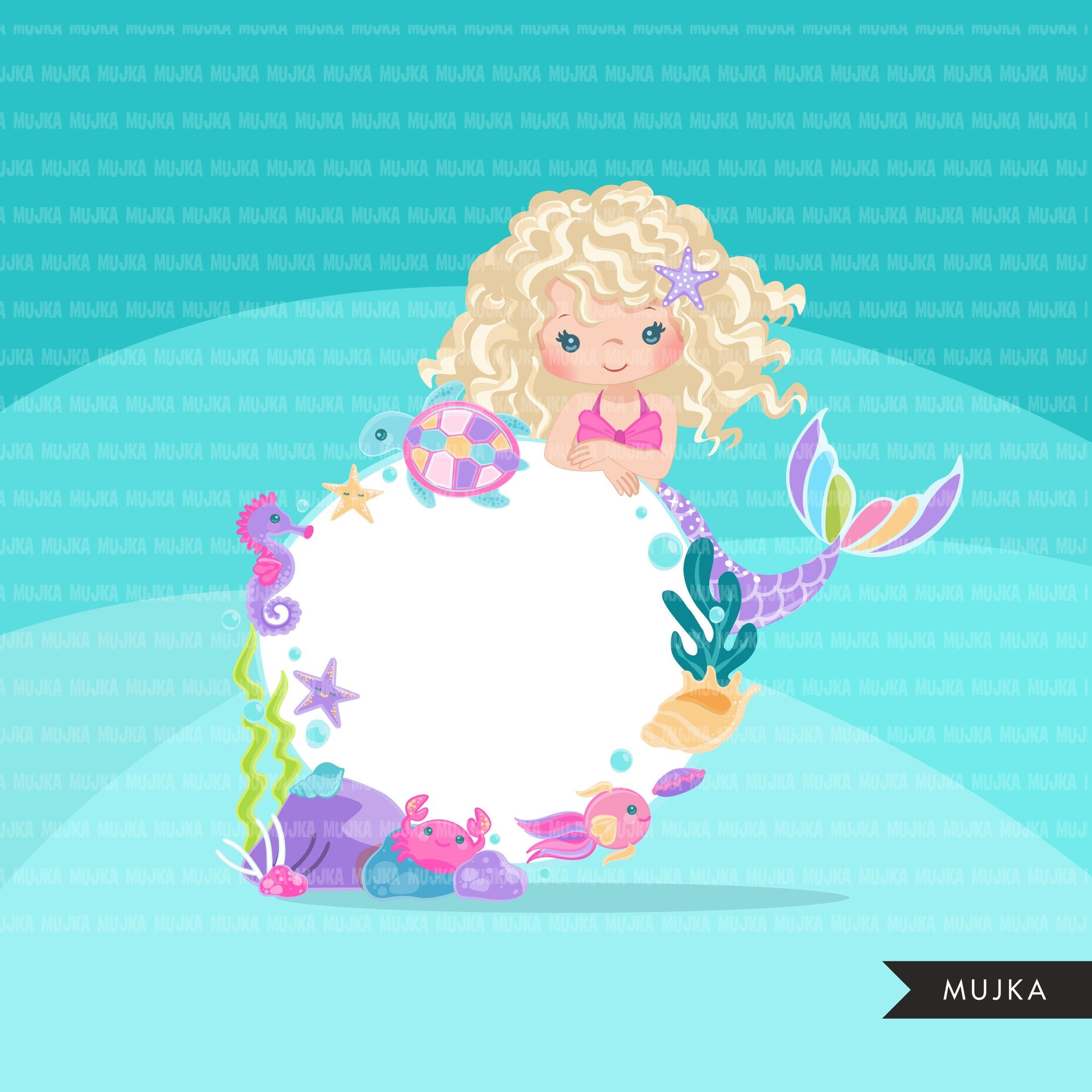 Mermaid clipart, cute underwater frame, pastel rainbow mermaid graphics, mermaid princess, rainbow birthday party, curly girl clip art