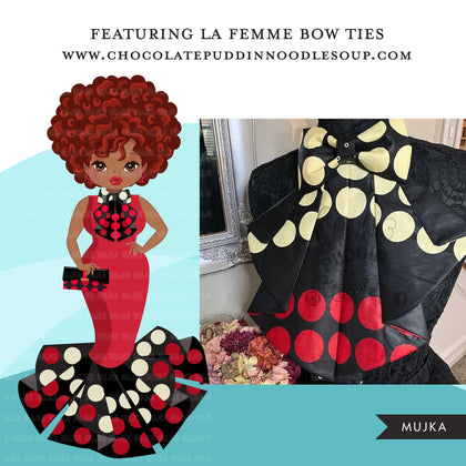 Black woman clipart avatar, Ankara polka dot print dress and bow tie, fashion graphics boss afro girl clip art print and cut PNG