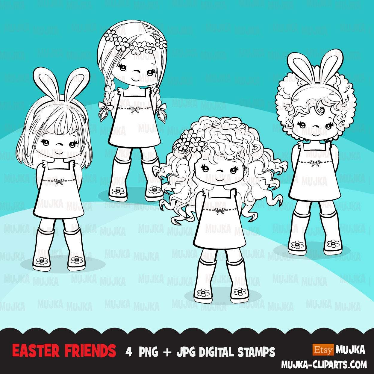 Easter Digital stamps, black & white Easter girls graphics, egg hunt, bunny ears, best friends, coloring book art outline clipart