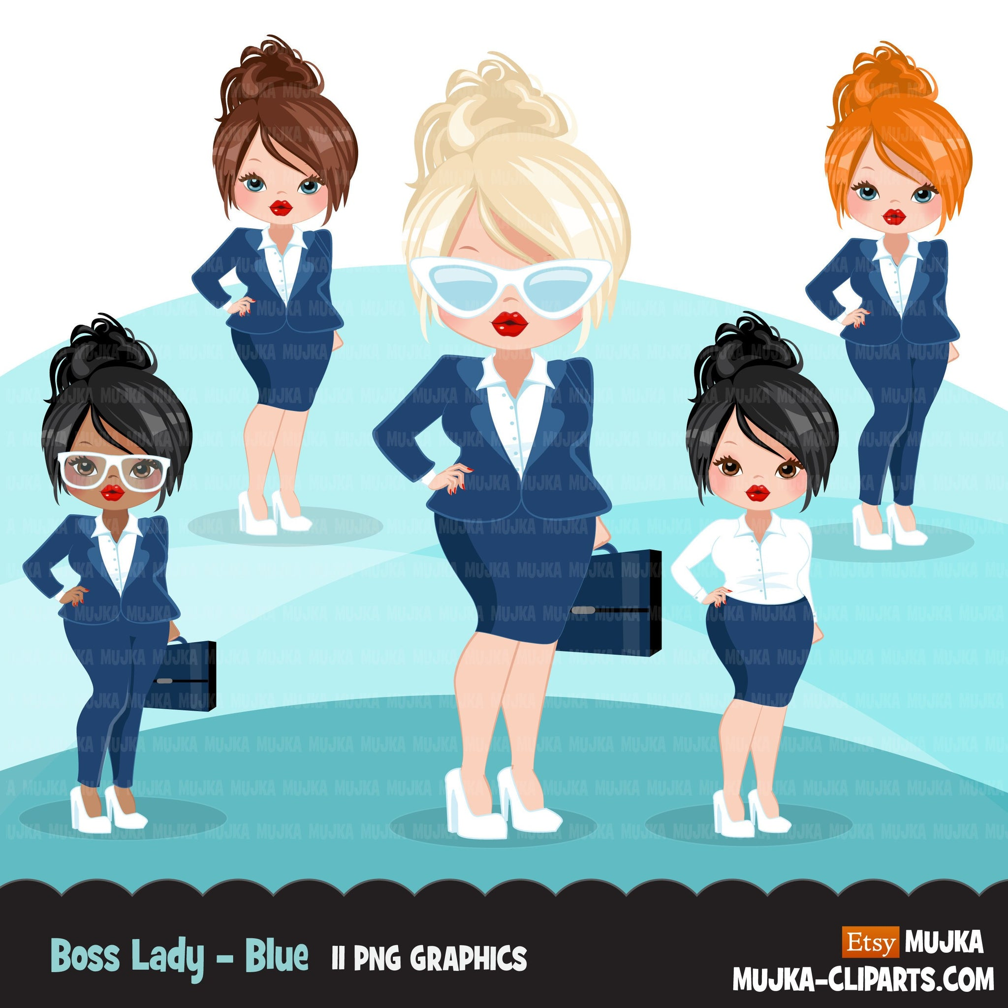 Business woman clipart with navy business suit, briefcase and glasses girl graphics, print and cut sublimation clip art, logo