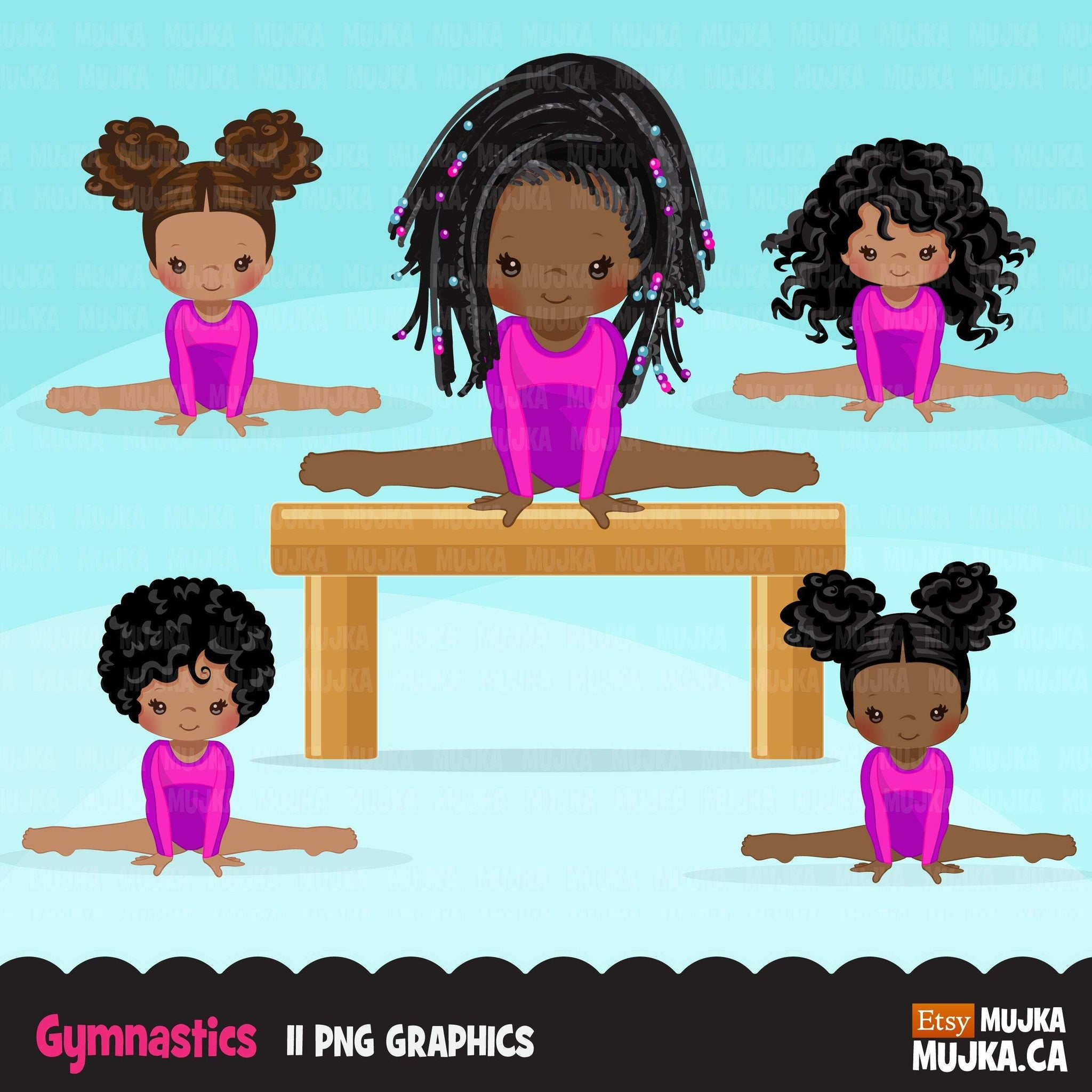 Gymnastics Clipart, Gymnast black girls, balance bar, sports, school activity, commercial use PNG graphics