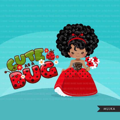 Ladybug Clipart, Black Princess, fairy tale graphics, girls with flowers, easter, spring, cute as a bug, commercial use clip art