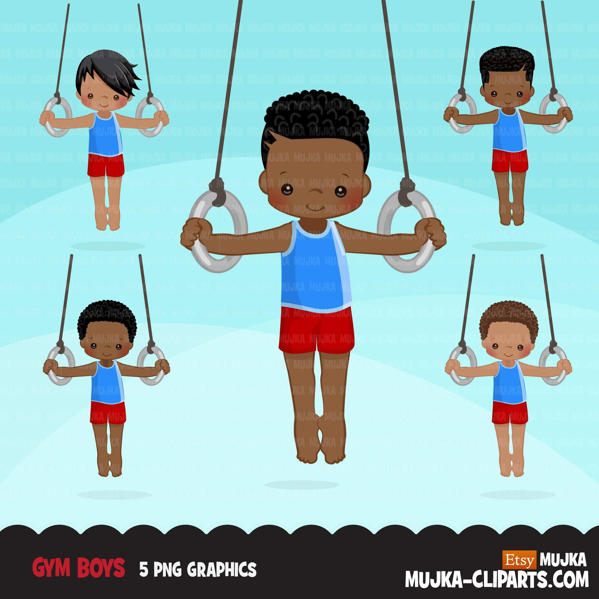 Gymnastics Clipart, Gymnast black boys, ring, sports, school activity, commercial use PNG graphics