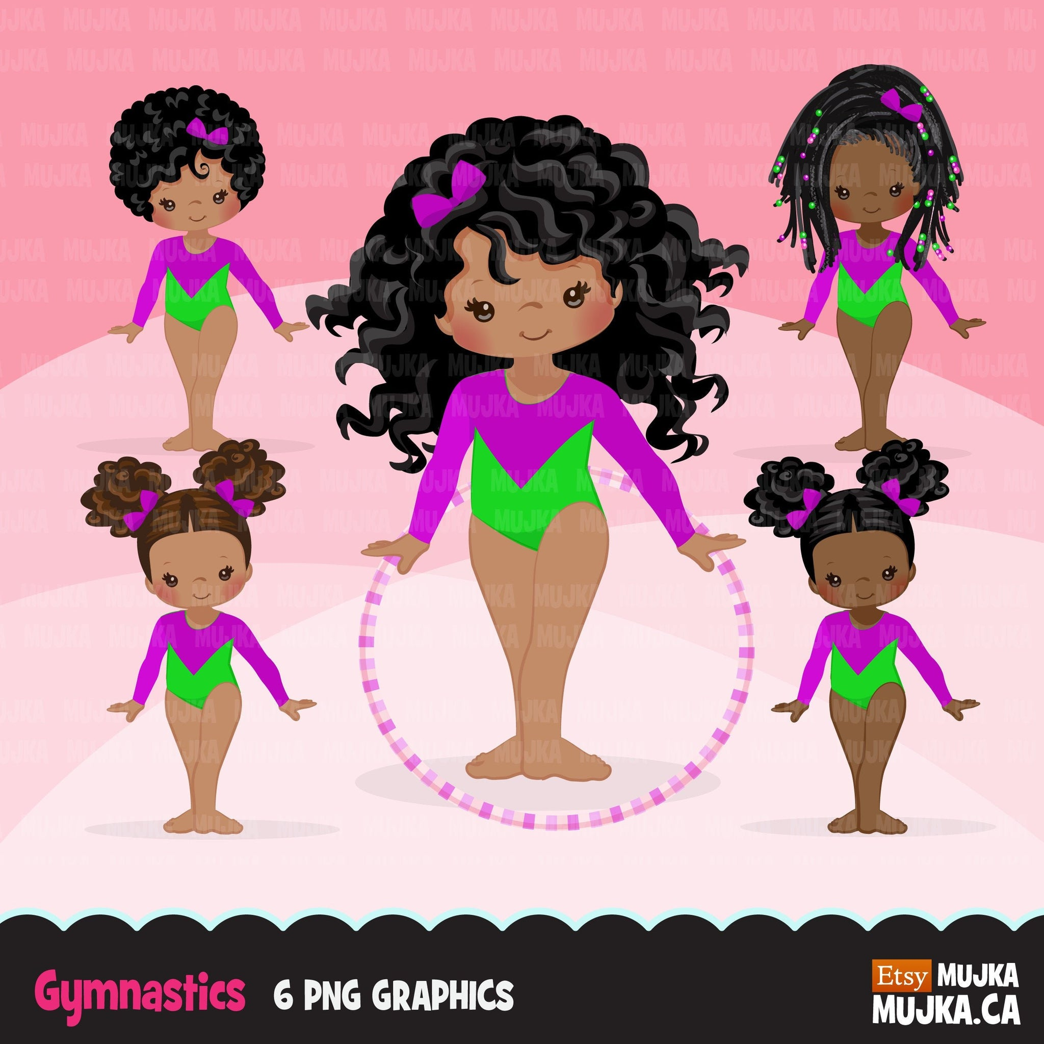 Gymnastics Clipart, Gymnast black girls, hula hoop, sports, school activity, commercial use PNG graphics