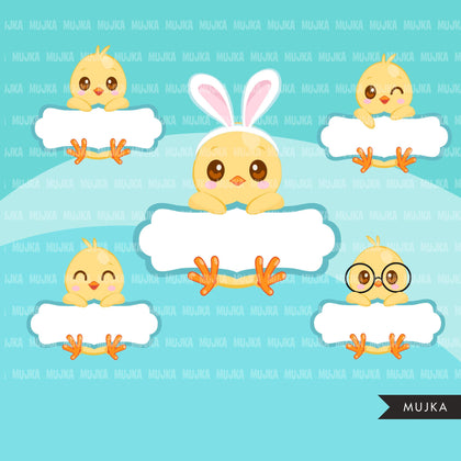 Easter Chick Split Clipart, Cute chicks with Easter frame, animal graphics  commercial use digital PNG clip art
