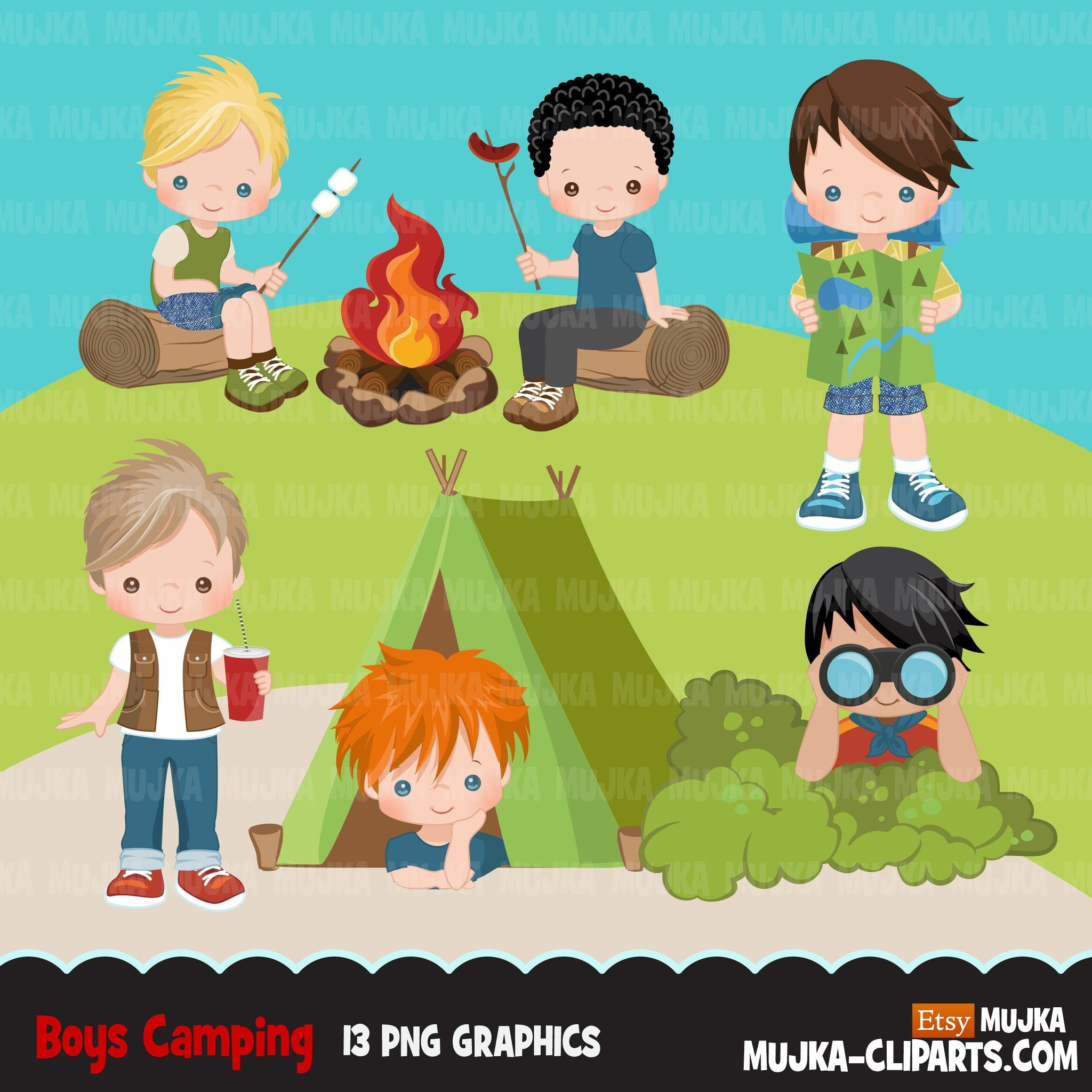 Boy Scouts camping clipart, campground, campfire, tent, outdoor graphics, commercial use Png clip art