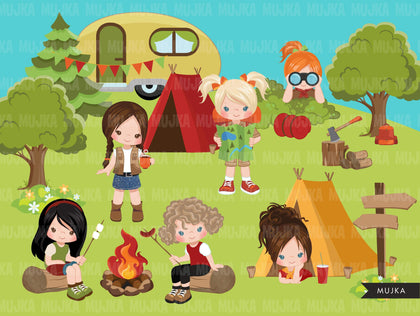 Girl Scouts camping clipart, campground, campfire, tent, outdoor graphics, commercial use Png clip art