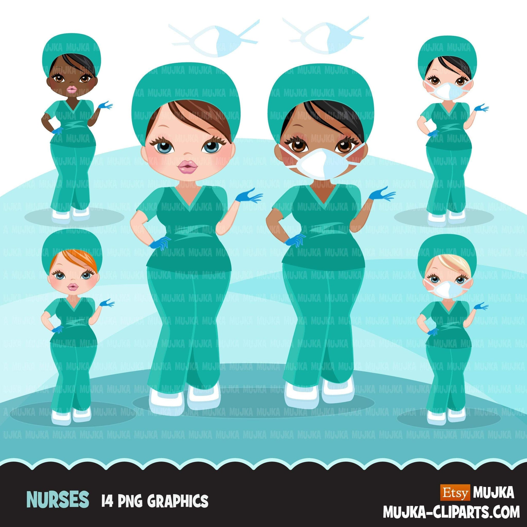 Nurse clipart with mask green scrubs, covid 19 prevention, corona virus, hospital graphics, print and cut PNG digital Designs, Medical clip art
