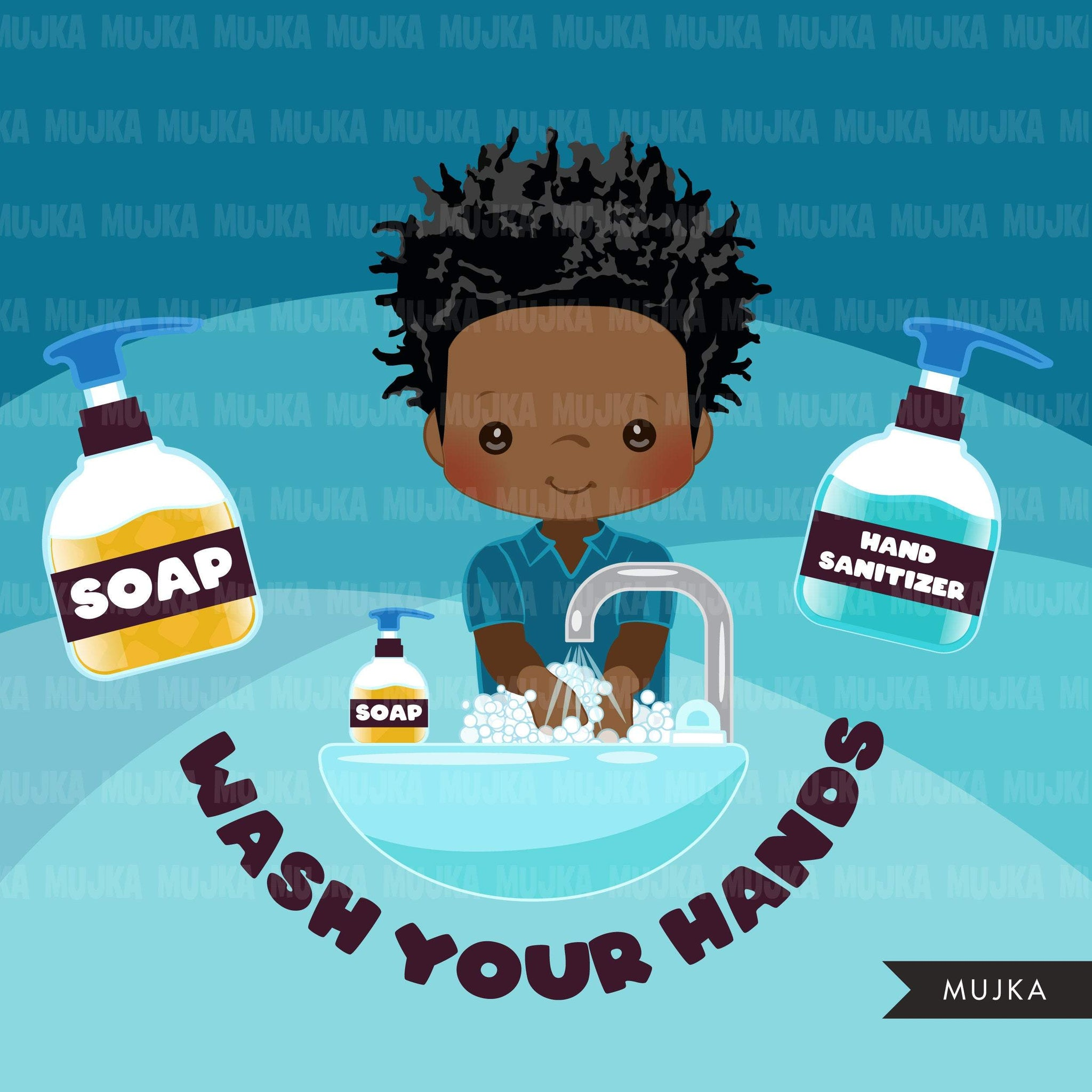Hand washing Clipart, black boys, hand sanitizer, bathroom chores, cleaning, covid 19, corona virus, social distancing graphics