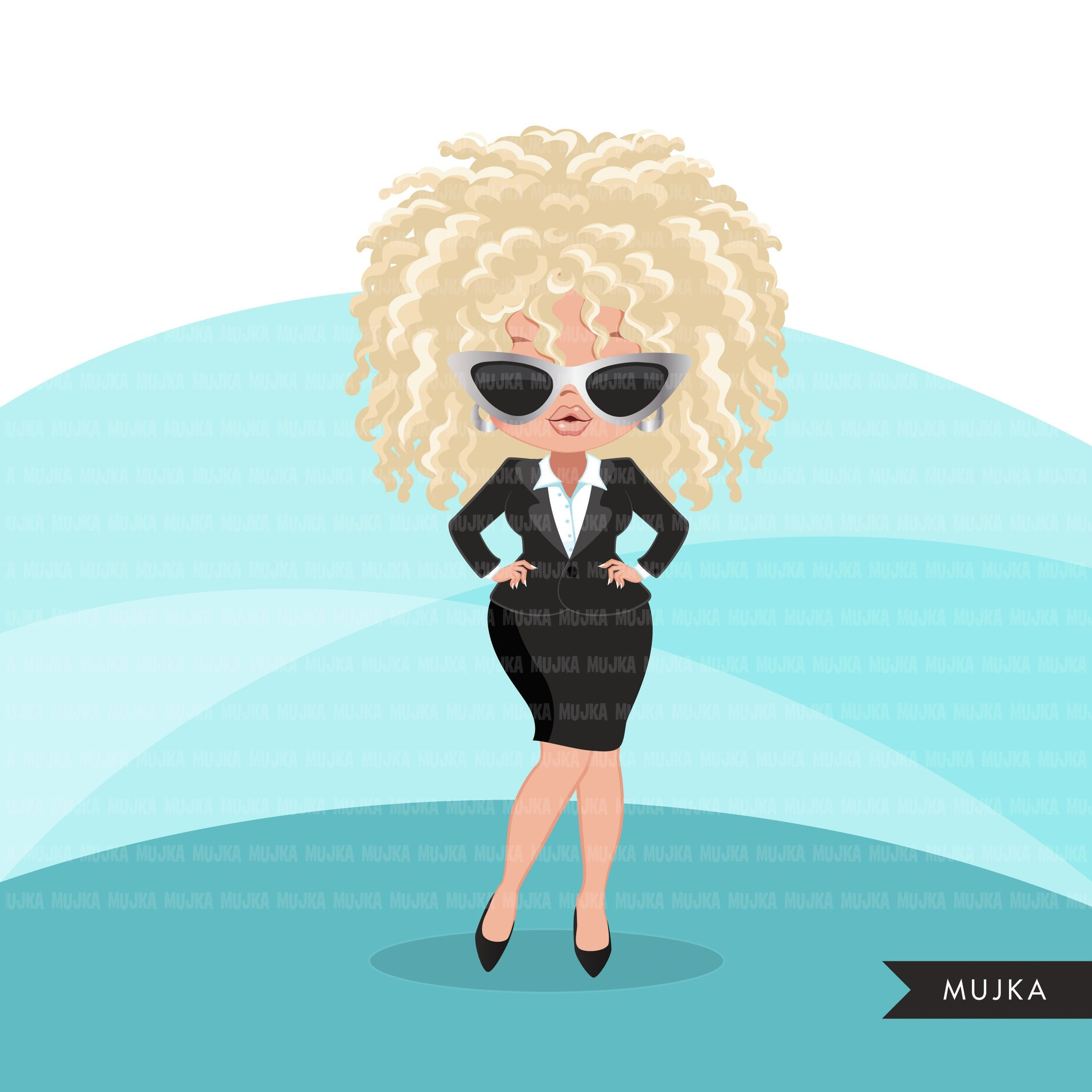 Woman clipart with business suit and glasses graphics, print and cut T-Shirt Designs, Boss babe Girls clip art