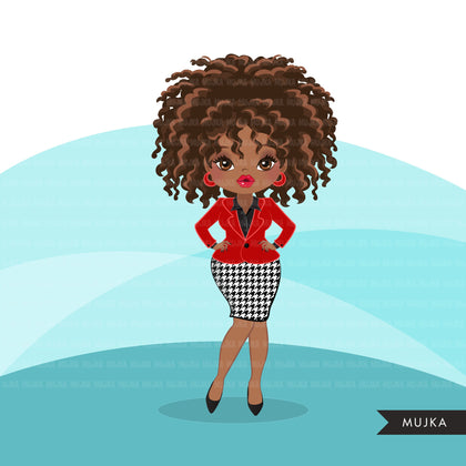 Afro woman clipart with red business suit and glasses African-American graphics, print and cut T-Shirt Designs, Black Girls clip art