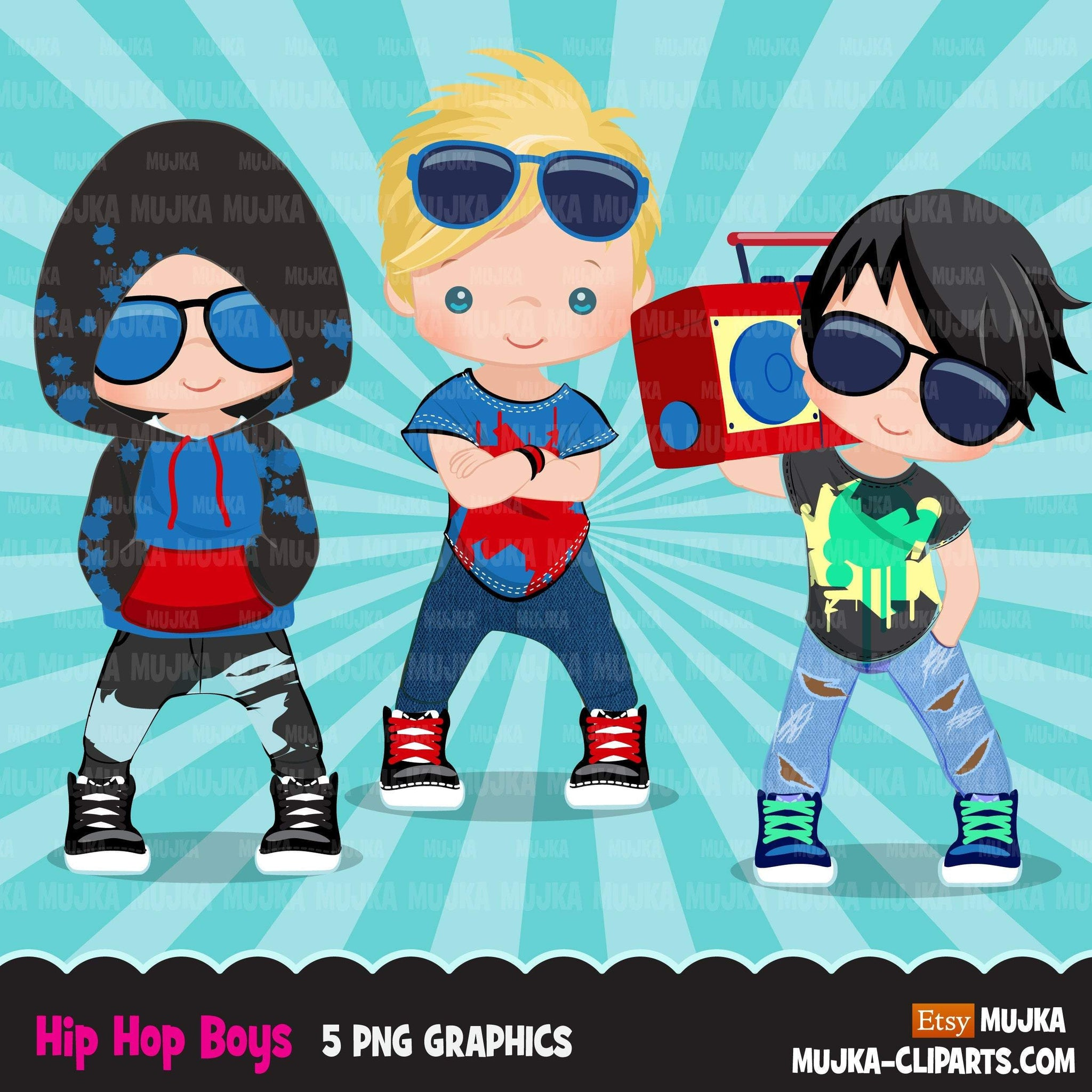 Hip hop dancer boys clipart, boombox, break dance, rapping characters, digital sublimation clip art