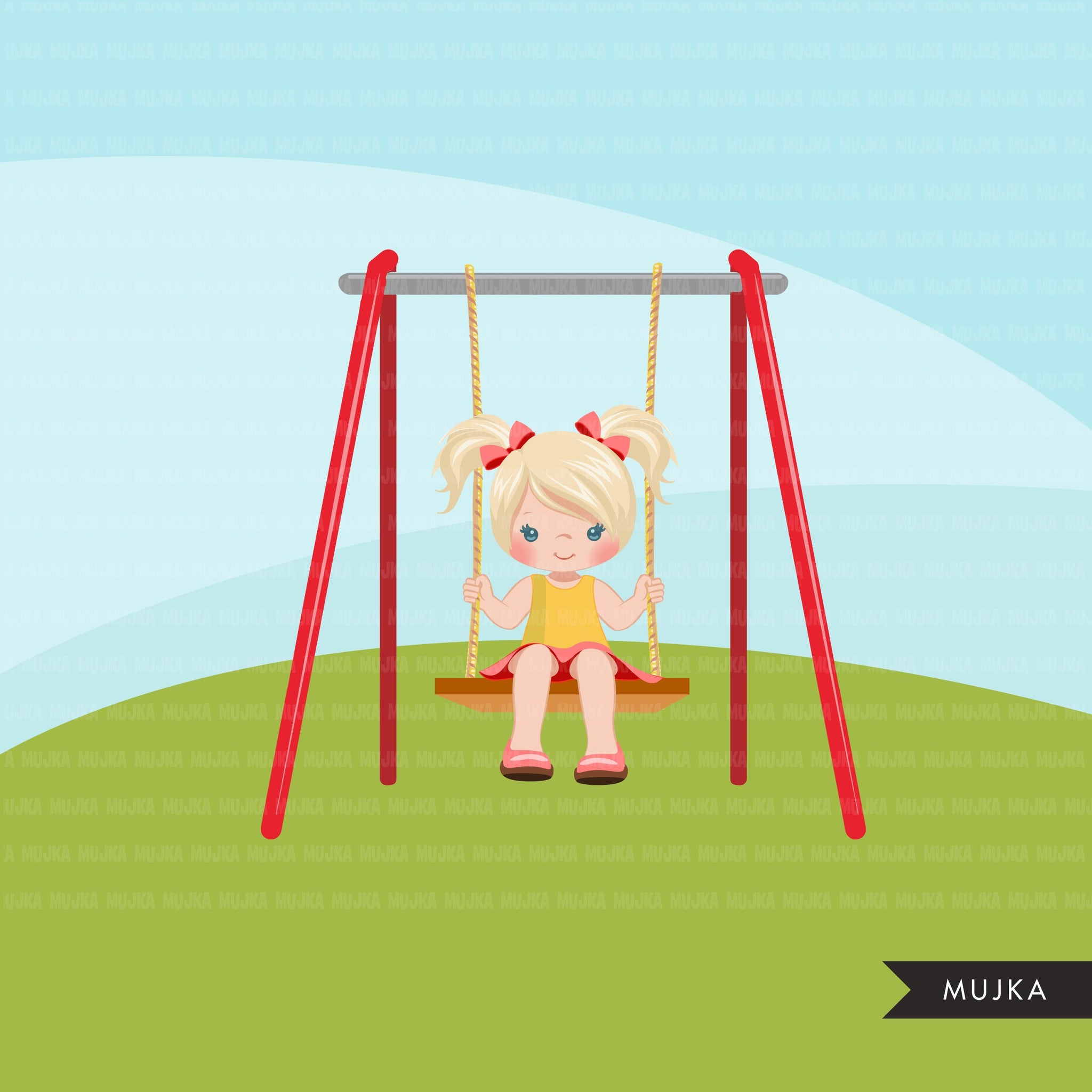 Playground Clipart, girl swinging, spring, outdoors park swing graphics, commercial use Png clip art