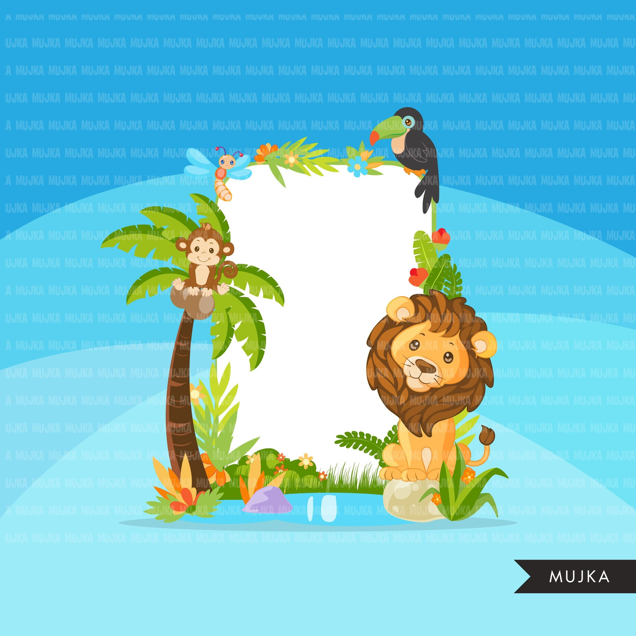 Safari Jungle frames clipart, forest frames with lion, tiger, zebra, monkey, giraffe elephant animal graphics, Png digital clip art